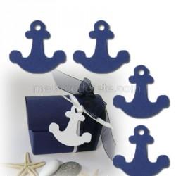 6 étiquettes ancres bleu marine