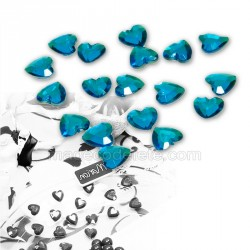 50 petits coeurs strass turquoise