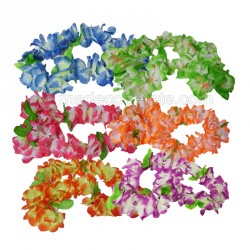 6 colliers hawai multicolores