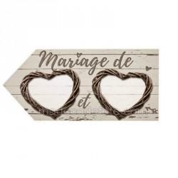 Pancarte flèche mariage nature