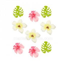 9 confettis fleurs tropicales