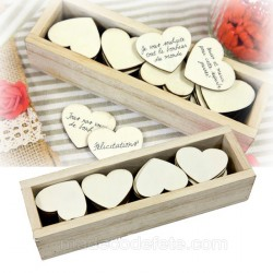 Boîte 48 coeurs en bois