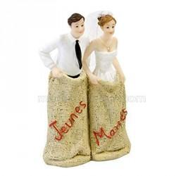 Figurine mariés course en sac