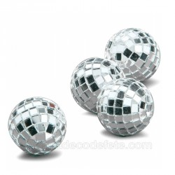 4 mini boules à facettes argent