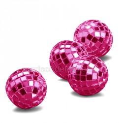 4 mini boules à facettes fuchsia