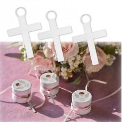 6 Pendentifs croix blanche communion