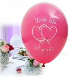 8 ballons vive-les-mariés fuchsia