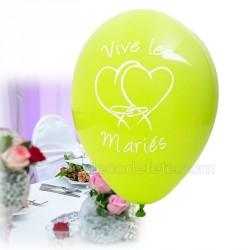 8 ballons vive-les-mariés anis