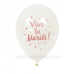 6 ballons nacrés imprimés rose gold
