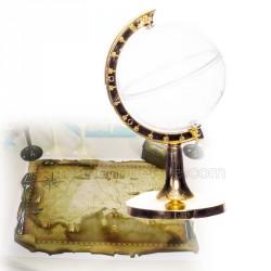 Contenant dragées globe pied or de 9 cm