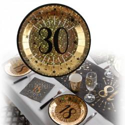 assiettes 30 ans métal x10