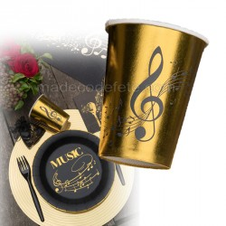 Gobelet musique doré x10