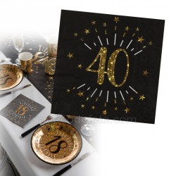 serviette anniversaire 40 ans x10