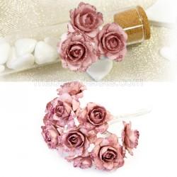 12 mini rose pailletée