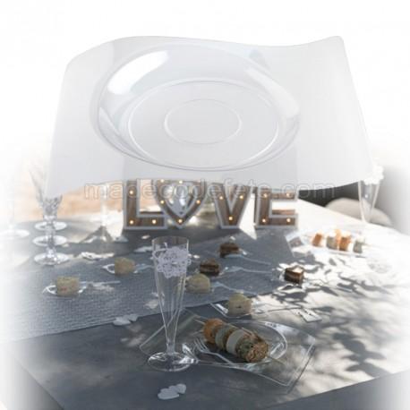 Assiettes vagues plat transparentes x 6