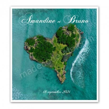 Faire-part coeur des îles