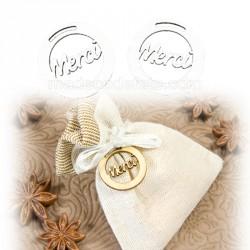 Pastille décor bois blanc merci x10