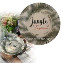 10 assiettes jetables jungle tropical