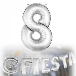 Ballon métallisé chiffre 8 argent