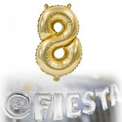 Ballon métallisé chiffre 8 doré