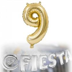 Ballon métallisé chiffre 9 doré