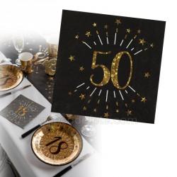 serviettes noir et or 50 ans x10