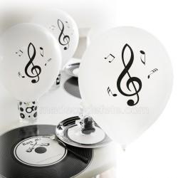 Ballons blancs musique clé de sol x 8