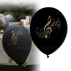 Ballons noirs musique clé de sol or x 8