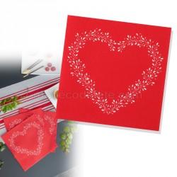 Serviettes intissées rouge et coeur x12