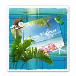 Faire-part tropiques madras bleu