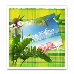 Faire-part tropiques madras vert