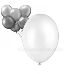 24 ballons nacrés blancs