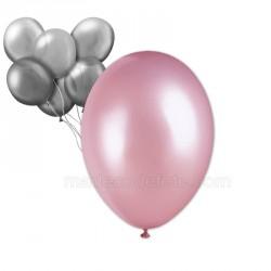 24 ballons nacrés rose