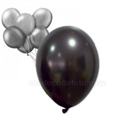 18 ballons nacrés noirs