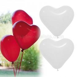 Ballons coeurs blancs x 12