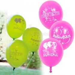 Ballons fuchsia bienvenue x 8