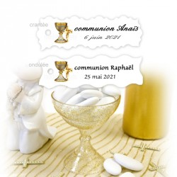 10 étiquettes dragées communion or