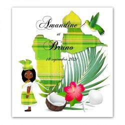 Faire-part Guadeloupe madras vert