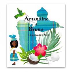 Faire-part Guadeloupe madras bleu