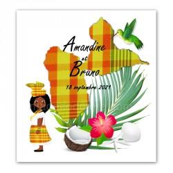Faire-part Guadeloupe madras jaune colibri