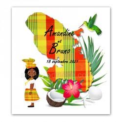 Faire-part Martinique madras jaune