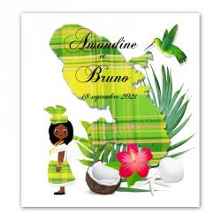 Faire-part Martinique madras vert