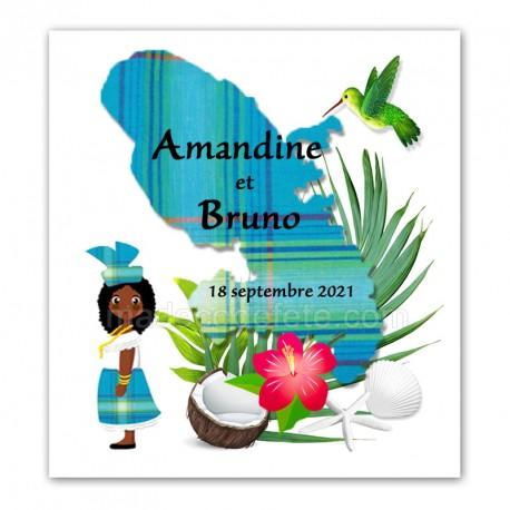 Faire-part Martinique madras bleu