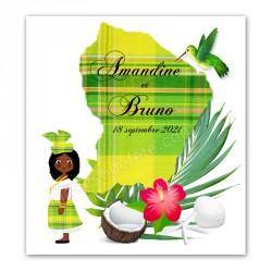 Faire-part Guyane madras vert
