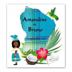 Faire-part Guyane madras bleu
