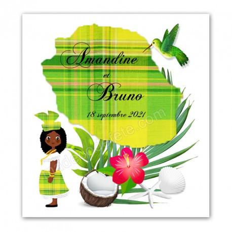 Faire-part Réunion madras vert