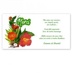 Carton remerciement hibiscus