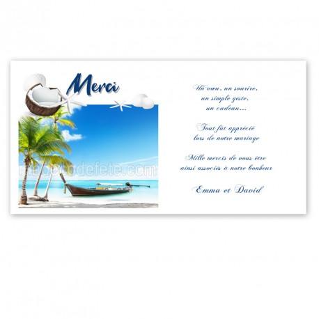 Carton remerciement île barque
