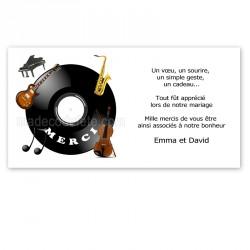 Carton remerciement instruments musique