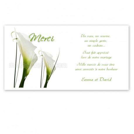 Carton remerciement fleur d'arum